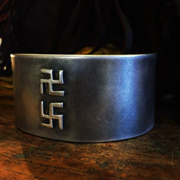 SOLD 1950S SWASTIKA WHIRLING LOGS HEAVY GIANT THICK HEAVY INGOT CUFF BRACELET