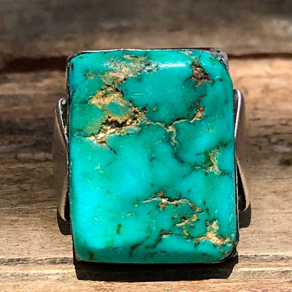1930s HUGE ROYSTON BLUE TURQUOISE RECTANGLE MENS INGOT SILVER RING