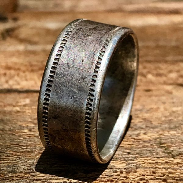 1880s ROCKER ENGRAVED INGOT SILVER NAVAJO OR HOPI BAND RING