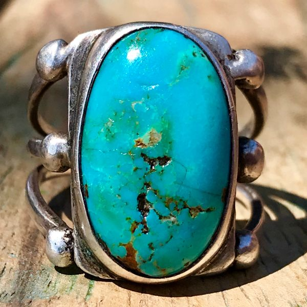 1920s VIVID BLUE OVAL TURQUOISE INGOT SILVER RING