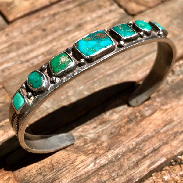 SOLD 1910s STAMPED INGOT SILVER BLUE GEM TURQUOISE ROW CUFF BRACELET GREEN & BLUE 7 STONES