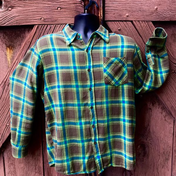 SOLD 1990s GRUNGE ERA PLAID FLANNEL GREEN BROWN BLUE COTTON SHIRT