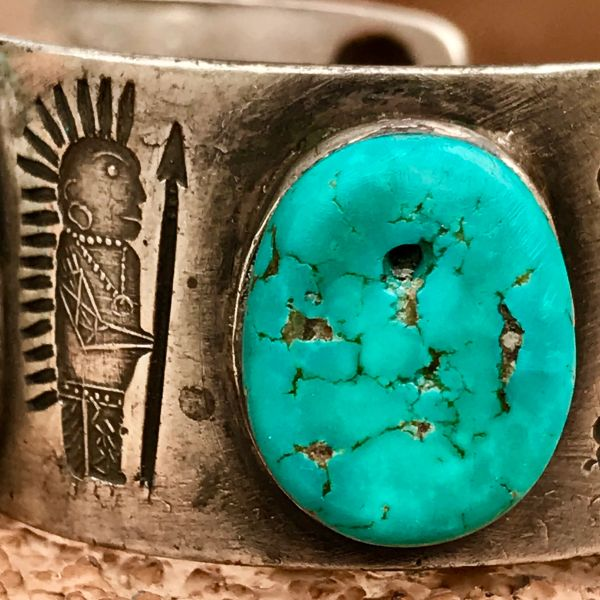 SOLD 1920s INDIAN HEADDRESS CHIEF WARRIOR WITH SPEAR SPOON STAMPED INGOT SILVER TERMINAL STONE & NEON BLUE TURQUOISE TAB CUFF BRACELET