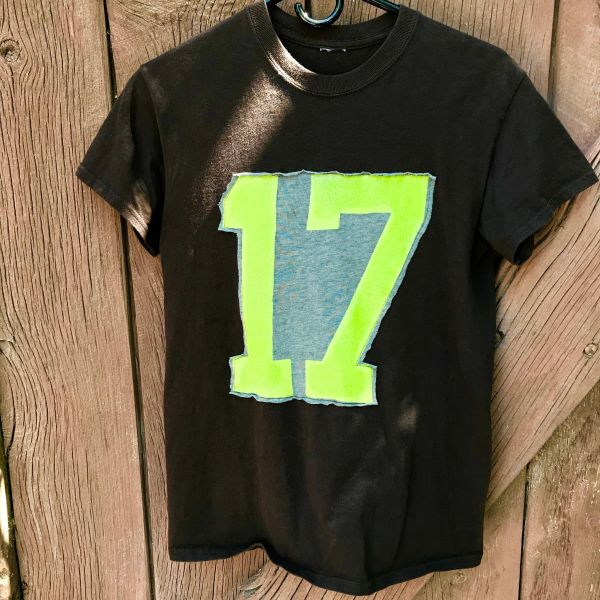 SALVAGED BROWN #17 VARSITY NEON GREEN SPORTS TEAM T-SHIRT