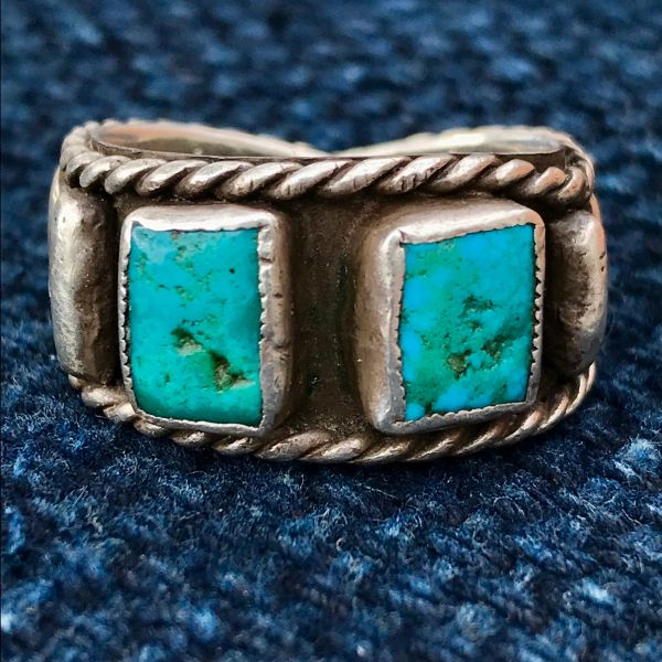 SOLD 1970s LARGE FINGER BAND SILVER TURQUOISE BAND 2 BLUE STONES