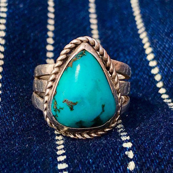 1940s DARK BLUE RAIN DROP TURQUOISE INGOT SILVER PINKY RING