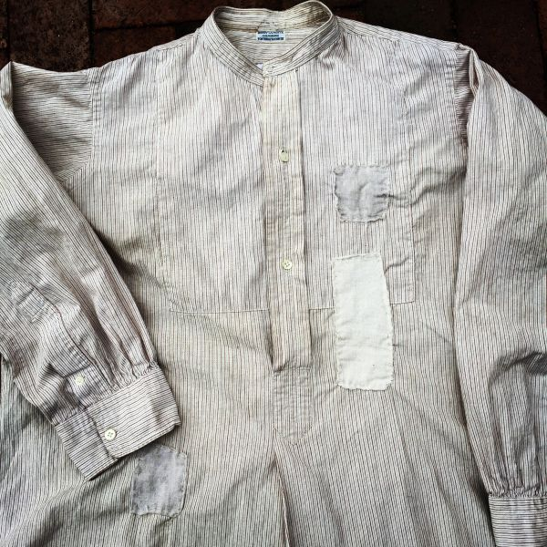 SOLD THIN FRENCH 1880s BANDED COLLAR BORO PATCHWORK SOFT GRANDAD SHIRT