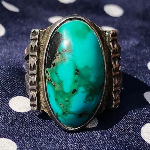 1930s OVAL BLUE GREEN TURQUOISE INGOT SILVER STAMPED RING