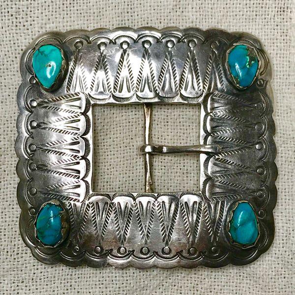 1920s HUGE BLUE TURQUOISE INGOT SILVER STAMPED BELT BUCKLE