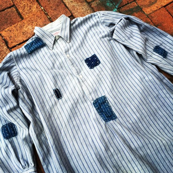 SOLD FRENCH WORKWEAR STRIPED INDIGO BORO PATCHED 1910s GRANDAD SHIRT