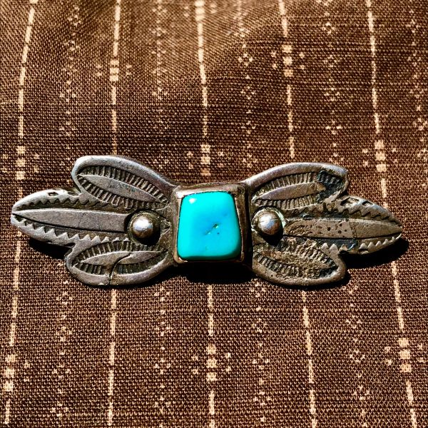 SOLD 1890s RARE BUTTERFLY TURQUOISE STAMPED INGOT SILVER MANTA PIN