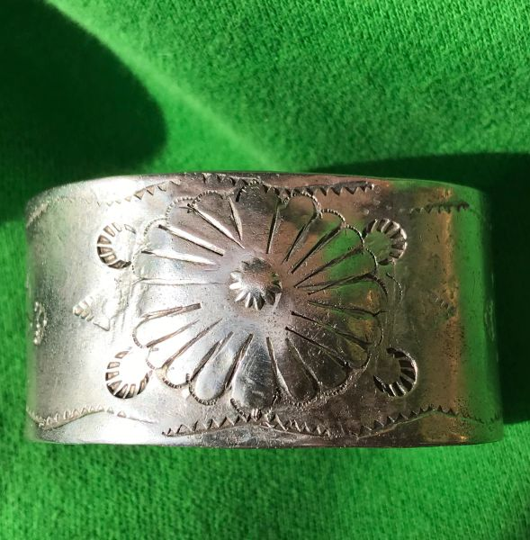 1890s WIDE THICK HEAVY REPOUSSE' STAMPED INGOT SILVER CUFF BRACELET
