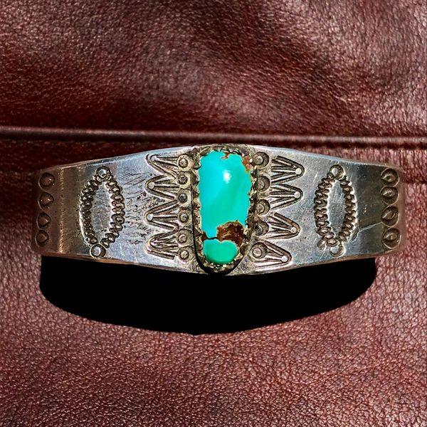 1890s EARLY STAMPED HANDCUT SAWTOOTH BEZEL INGOT SILVER BLUE GREEN TURQUOISE STONE CUFF BRACELET