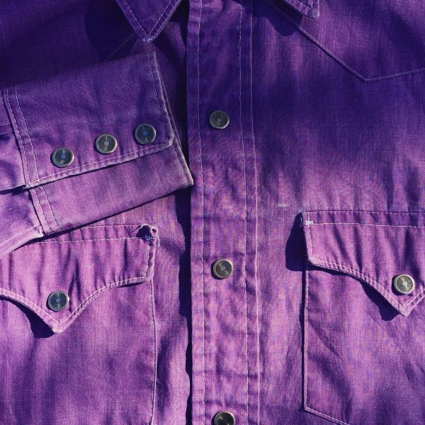 SOLD LEE SUN FADED WESTERN SNAP CHAMBRAY SHIRT in LAVENDER