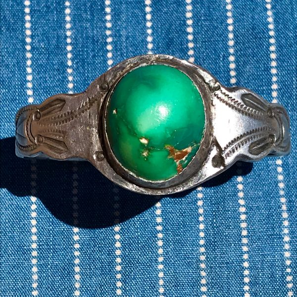 SOLD 1930s TALL BIG ROUND DOMED NEON GREEN CERILLOS TURQUOISE STAMPED INGOT SILVER STURDILY REPAIRED CUFF BRACELET