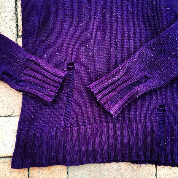 SOLD JAPANESE HOBO STYLE WOOL DELIBERATELY DISTRESSED & SNAGGED PURPLE SWEATER