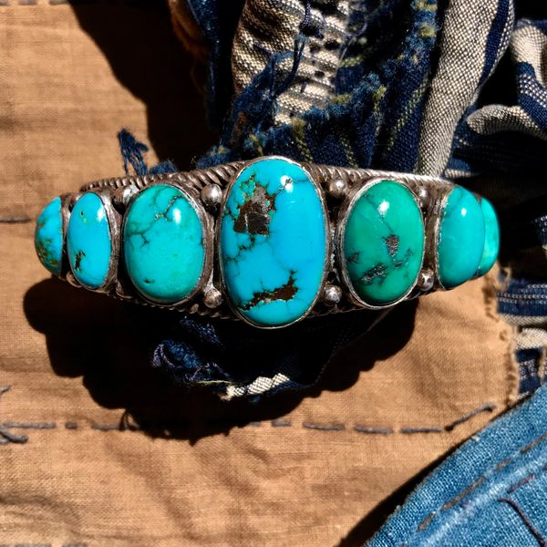 1920s BIG OVAL BLUE & GREEN DOMED TURQUOISE ROW CUFF WITH HAND PULLED INGOT HANDPULLED SILVER WIRE