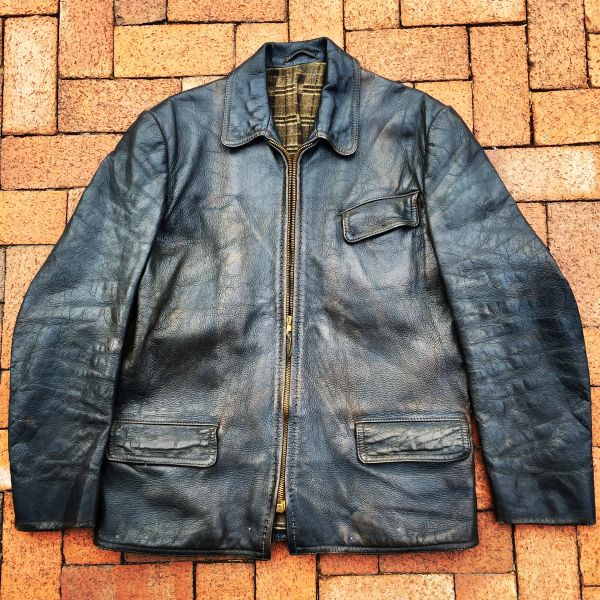 SOLD GUNMETAL BLUE LEATHER FRENCH 1940s COAT LINED in PLAID FLANNEL