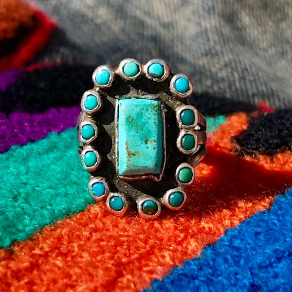 SOLD 1930s PETIT POINT SMALL ZUNI CLUSTER BLUE & GREEN TURQUOISE SILVER RING