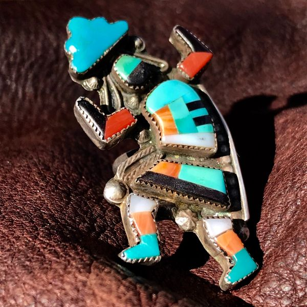 1950s ZUNI INLAY RAINBOWMAN KACHINA SILVER TURQUOISE CORAL ETC. RING