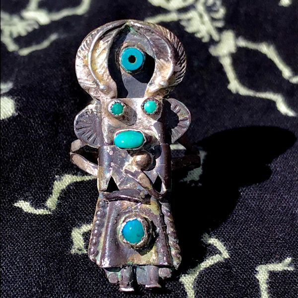 1950s SMALL LONG KACHINA SIGNED SILVER TURQUOISE RING