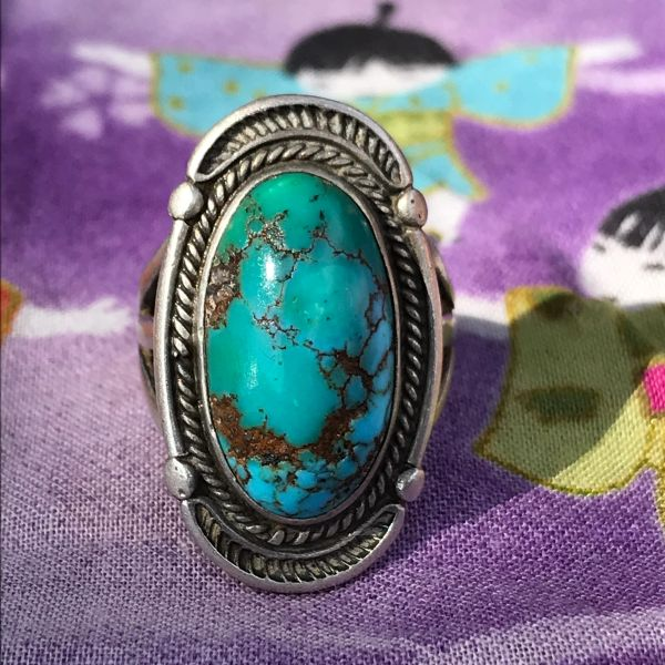 1930s OVAL DOMED ROYSTON VIVID BLUE & GREEN TURQUOISE ORNATE SILVER RING