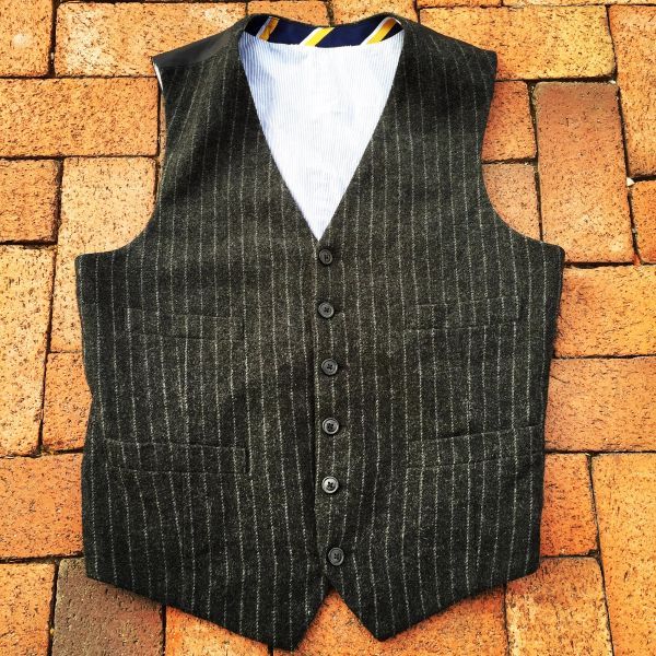SOLD WOOL BLEND CHARCOAL & CHALK STRIPE VEST