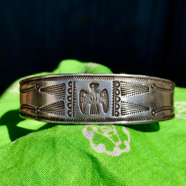 SOLD 1910s EARLY FRED HARVEY FILED, CHISELED & ROCKER ENGRAVED THUNDERBIRD STAMPED INGOT SILVER CUFF BRACELET