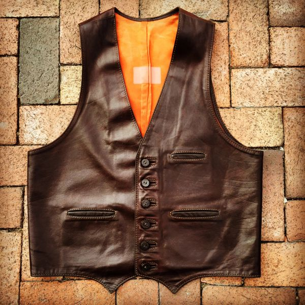 SOLD 1970s WESTERN COWBOY OILED LEATHER VEST