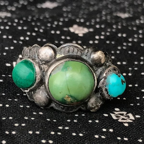 1930s BLUE & GREEN TURQUOISE SILVER BAND FRED HARVEY ERA RING