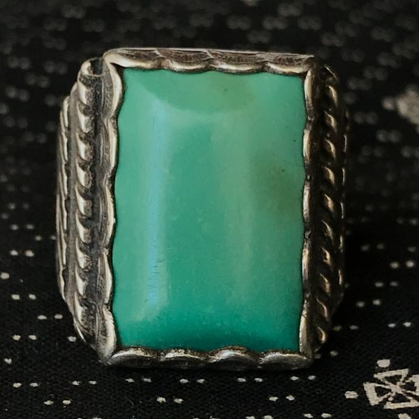 SOLD 1950s LIGHT GREEN TURQUOISE RECTANGLE STAMPED SILVER MENS RING