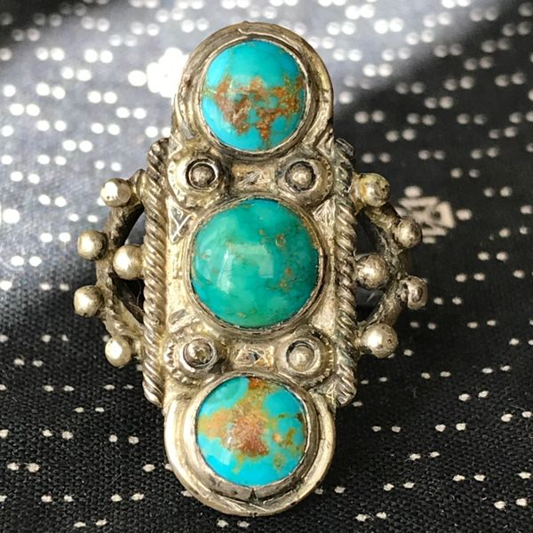 SOLD 1930s STOPLIGHT SILVER BLUE GREEN ROYSTON TURQUOISE LONG RING