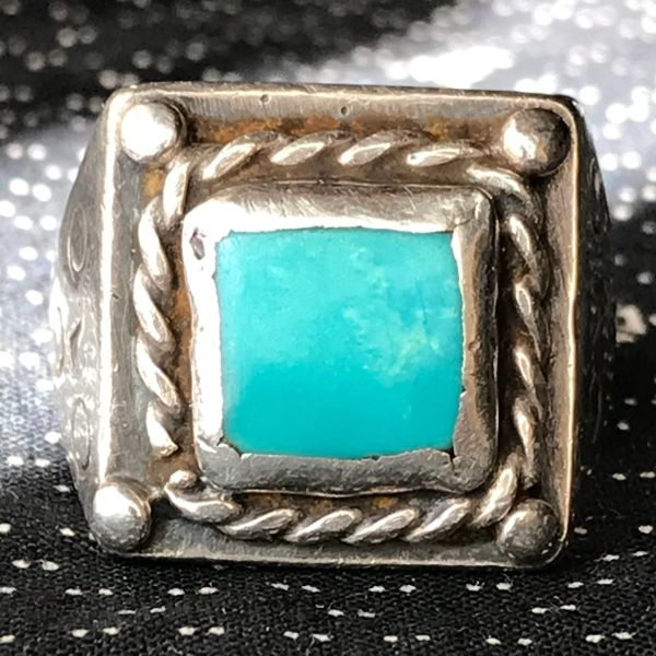 1940s HEAVY SILVER SQUARE BLUE TURQUOISE MENS FRED HARVEY ERA DEAD PAWN SILVER RING