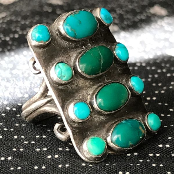 SOLD 1920s HUGE LONG ZUNI CLUSTER RARE SILVER GREEN TURQUOISE RING