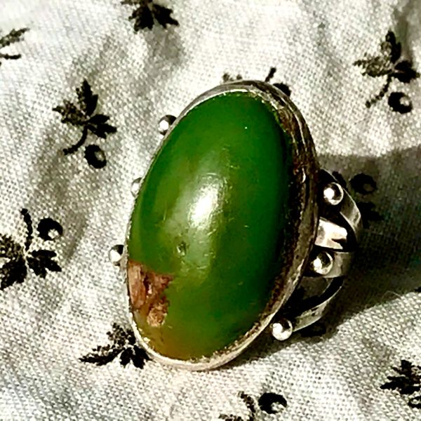 1930s OVAL CERILLOS GREEN TURQUOISE INGOT SILVER FRED HARVEY ERA RING