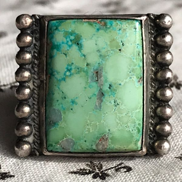 SOLD 1930s RECTANGLE LIGHT GREEN TURQUOISE SILVER FRED HARVEY TRADING POST RING