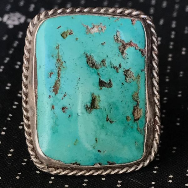 1960s LIGHT BLUE TURQUOISE RECTANGLE SILVER RING