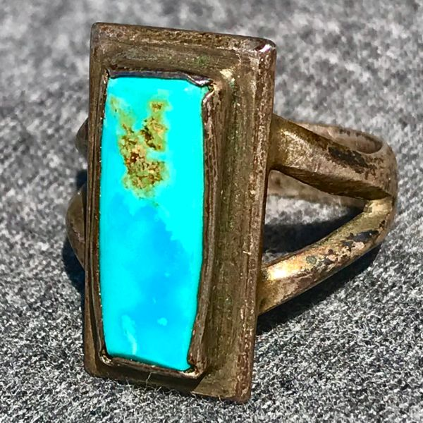1940s INGOT SILVER BLUE TURQUOISE RECTANGLE RING
