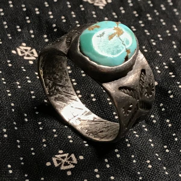 1910s INGOT SILVER EARLY STAMPED CIGAR BAND ROUND LIGHT BLUE TURQUOISE RING