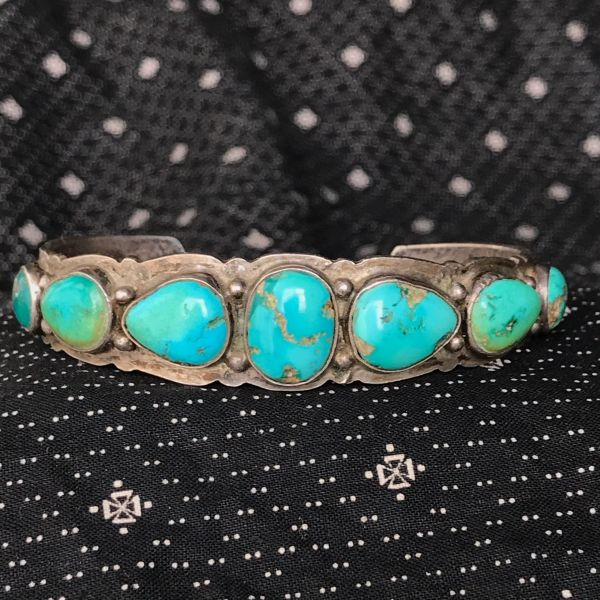 1920s INGOT SILVER BLUE & GREEN TURQUOISE STAMPED FRED HARVEY ERA ROW CUFF BRACELET