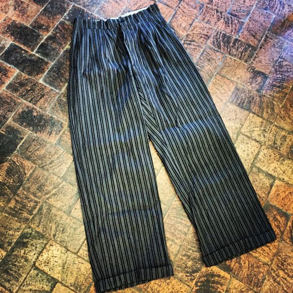 SOLD SOFT 1920s FRENCH STRIPED BUCKLEBACK FINE WORKWEAR PANTS