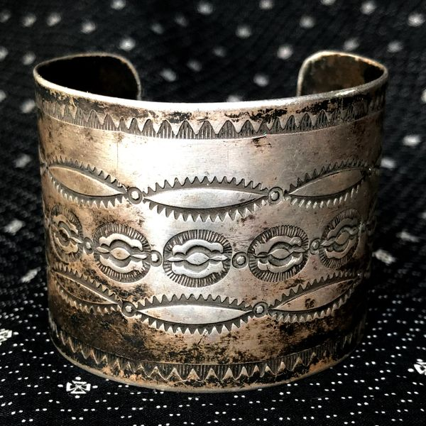 1920s STAMPED EXTRA WIDE ROLLED INGOT SILVER BIG WRIST
