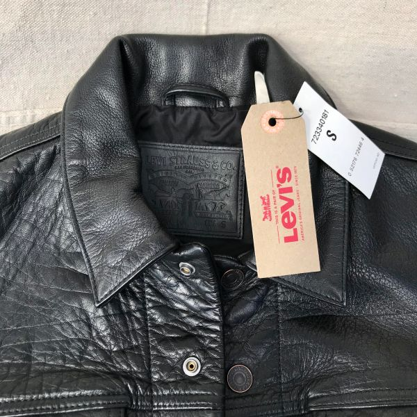 SOLD BLACK BUFFALO LEATHER LEVIS TRUCKER DENIM STYLE JACKET