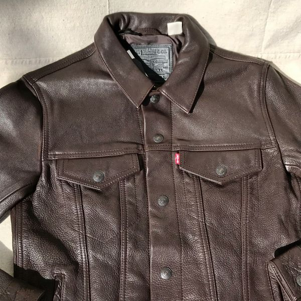 BROWN BUFFALO LEATHER LEVIS TRUCKER DENIM STYLE JACKET