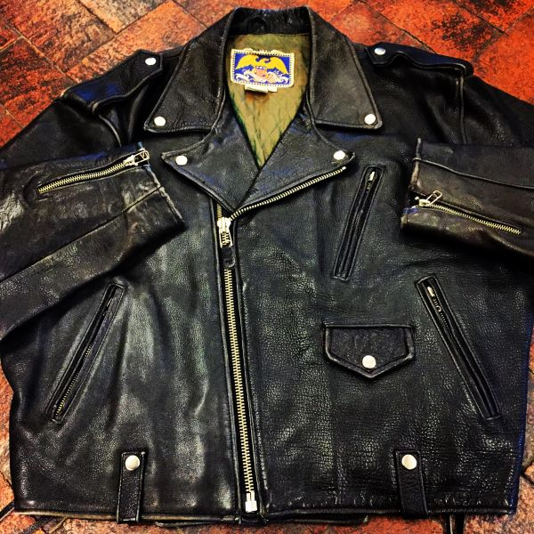 AVIREX BLACK VINTAGE BIKER MOTORCYCLE LEATHER PUNK ROCKER JACKET