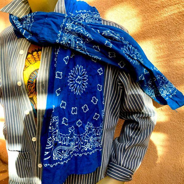 COBALT BLUE HANDSEWN BANDANNA SCARF