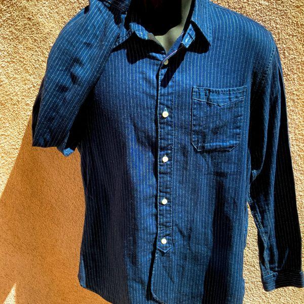 WABASH INDIGO BLUE STIFEL STRIPE CHAMBRAY RRL DOUBLE RL WORK SHIRT