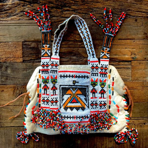 1930s AMERICAN DEERSKIN THUNDERBIRD BEADED PURSE