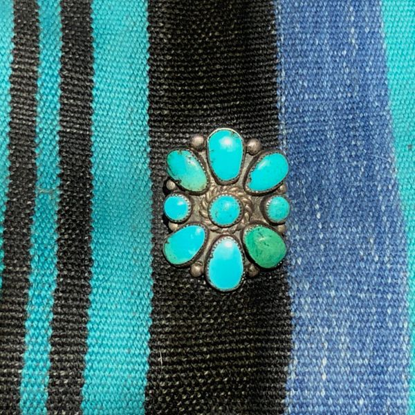 SOLD 1940s ZUNI FLORAL BLUE & GREEN CLUSTER TURQUOISE SILVER BIG RING