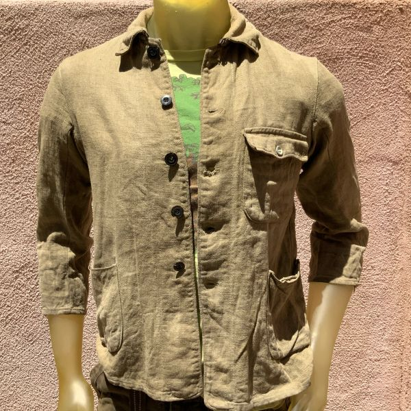 1910s SUPPLE SOFT DISTRESSED JAPANESE LINEN MENS FIELS JACKET XS 36